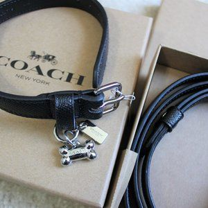 NWT COACH Small Pet Leather Collar and Leash Set